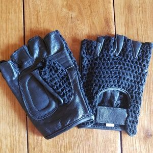 Leather & Mesh Fingerless Riding Gloves